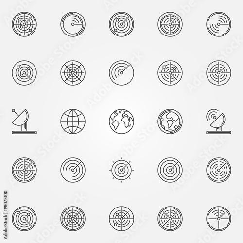 Fotografía  Radar icons set