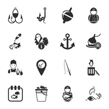 Fishing 16 Icons Universal Set For Web And Mobile
