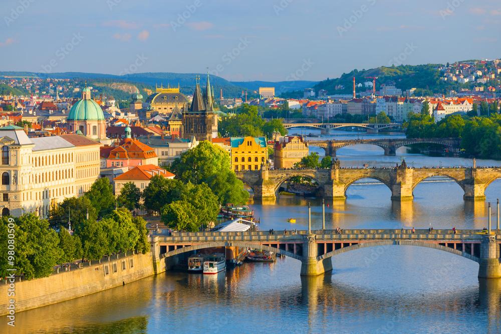 Fototapeta Prague at sunset time - obraz na płótnie