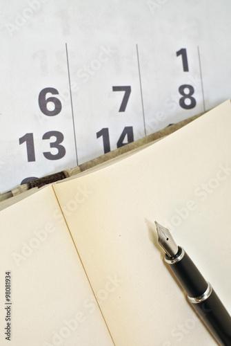 Fotografie, Obraz  Calendar, pen and notebook