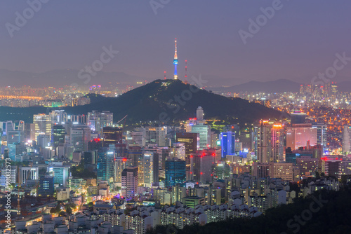 Foto op Canvas Seoel Seoul City Skyline, The best view of South Korea at Night