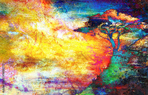 Fototapety, obrazy: Painting sunset, sea and tree, wallpaper landscape, color collage