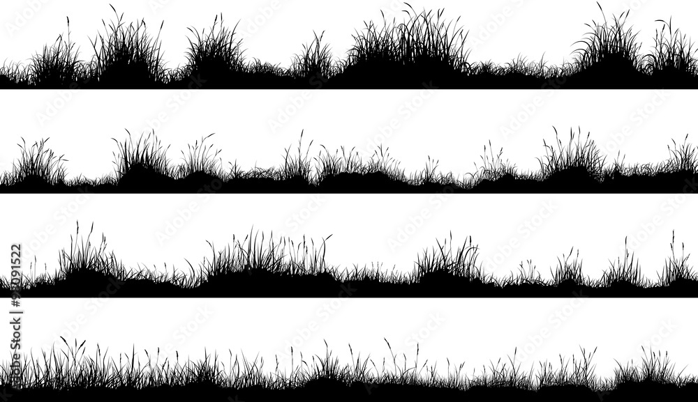 Fototapety, obrazy: Horizontal banners of meadow silhouettes with grass