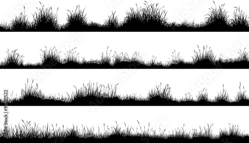 Horizontal banners of meadow silhouettes with grass - 98091522