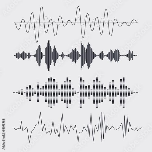 Photo Vector sound waves set. Music. Vector illustration.