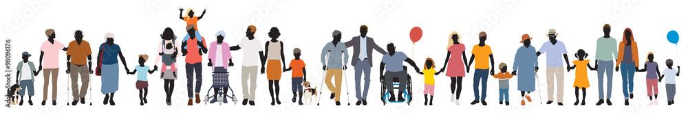 Fototapeta Editable vector silhouettes of people walking together