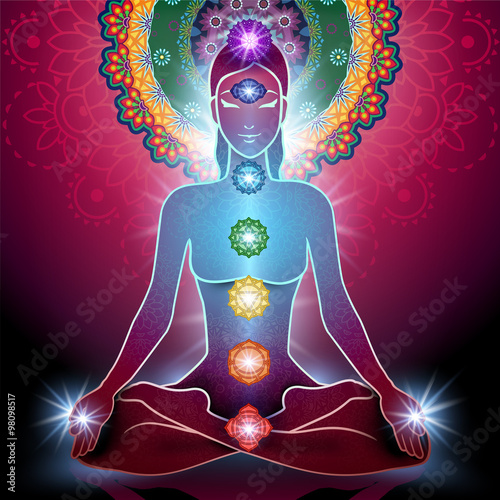 Fotografia Yoga Lotus Position and Chakra