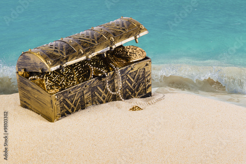 Fotografie, Obraz  Treasure chest from pirates with gold coins and nuggets