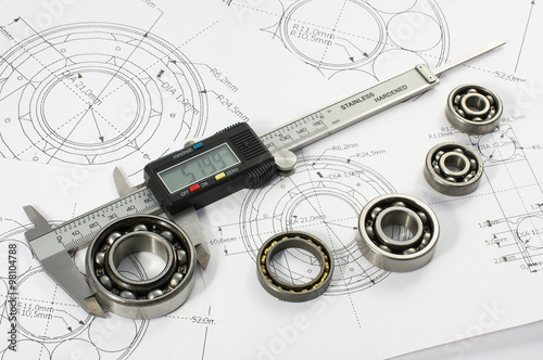 Fotografie, Obraz  Bearing and caliper on the mechanical engineering drawing