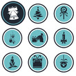Set of nine Christmas icons web and mobile