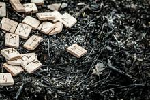 Wooden Runes On The Ground