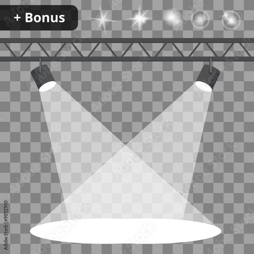 Scene with spotlights on a transparent background