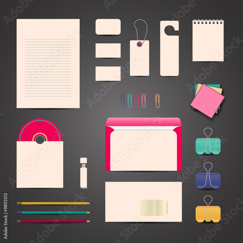 Corporate Ideny Templates Blank Business Cards Customer Card Notebook Disk Envelopes Pencils Paper Clips Flash Drivepen Vector Editable