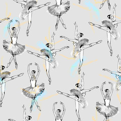 FototapetaSeamless pattern of ballet dancers, black and silver drawing, watercolor painting, monochrome with color accents isolated on grey background.