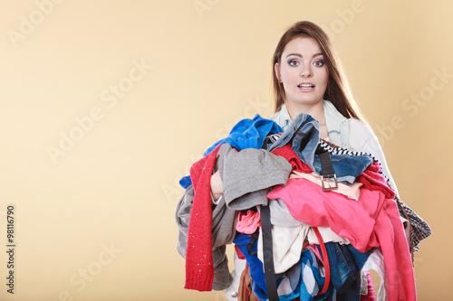 Fotografia, Obraz  Woman with dirty laundry clothes.