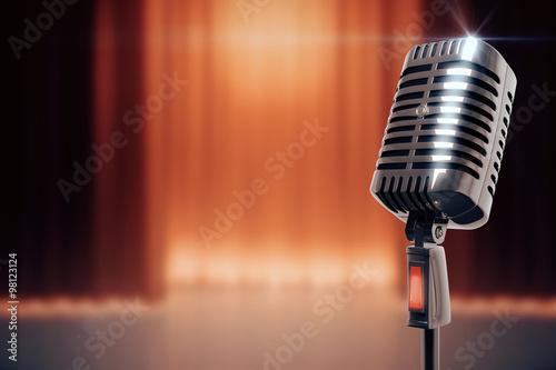 Fotografie, Tablou  Vintage microphone at stage background