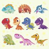 Fototapeta Dinusie - cartoon dinosaur collections