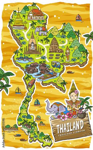 Staande foto Kasteel adorable Thailand travel map