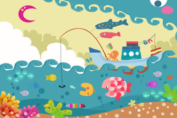 Plakat Illustration for Children: The Big Wave Monster is Chasing a Fishing Ship. Realistic Fantastic Cartoon Style Artwork / Story / Scene / Wallpaper / Background / Card Design