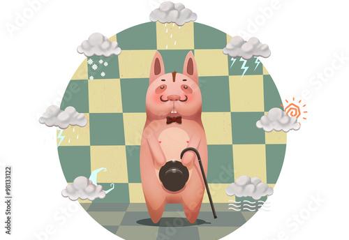 Illustration For Children The Gentle Man Pig Or Dog Realistic Fantastic Cartoon