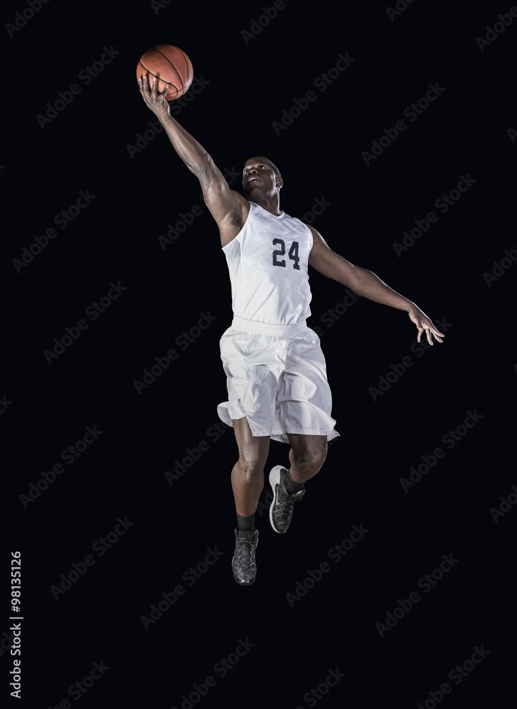 54ababc88 Photo   Art Print Basketball Player jumping high and scoring a layup basket