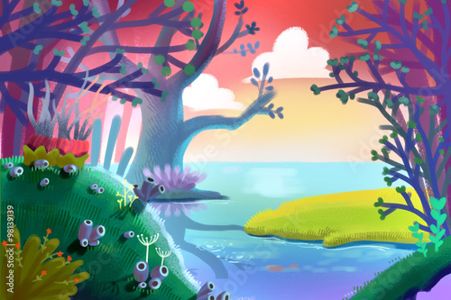 illustration for children a small green grass field inside the