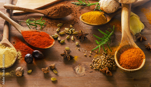 Canvas Prints Spices Various colorful spices on a wooden board.