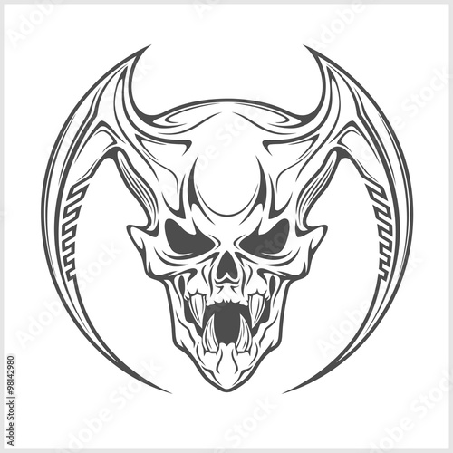 Foto  Demon Skull on white