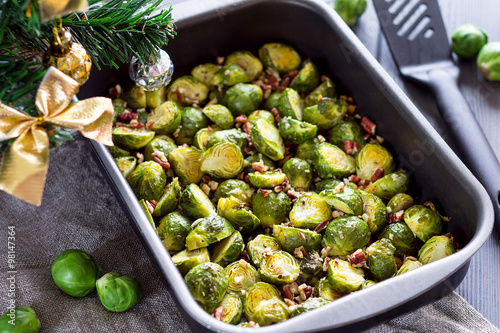 Photo Stands Brussels Cooked Brussel Sprouts On a ChristmasTable