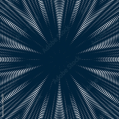 Black and white moire lines, striped  psychedelic vector backgro #98150587