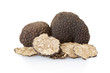 Black truffles group and slices isolated on white, clipping path