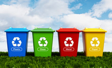 Plastic, Glass, Metal And Paper Recycle Bins