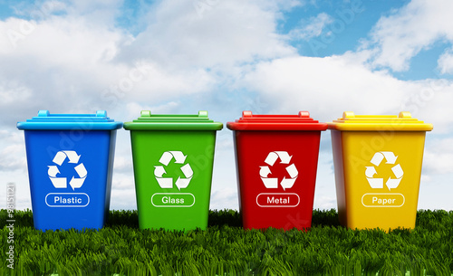 Valokuva  Plastic, glass, metal and paper recycle bins
