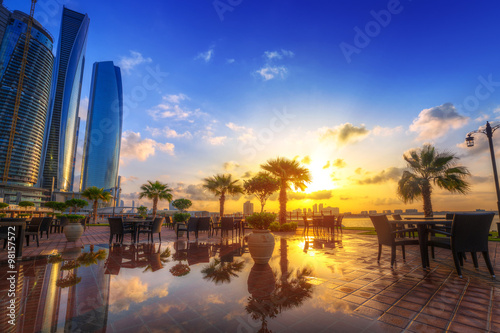 Poster Abou Dabi Abu Dhabi, the capital of United Arab Emirates at sunrise