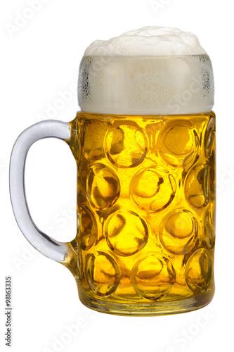 Foto auf Gartenposter Bier / Apfelwein Maßkrug Bier aus Bayern isoliert