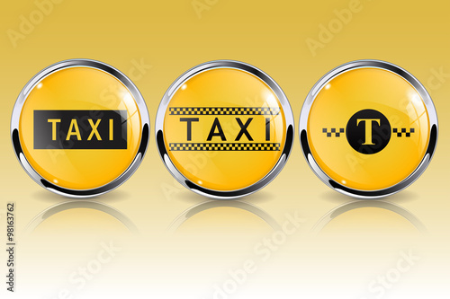 Fotobehang Fiets Taxi button. Yellow sign. Glass round button.