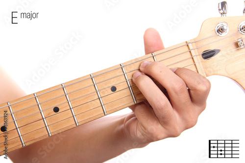 E major guitar chord tutorial Canvas Print