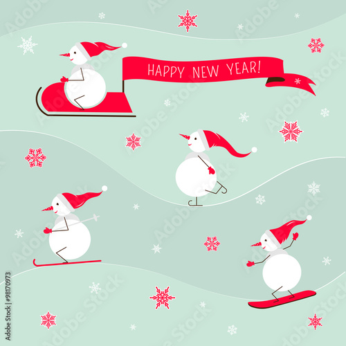 Fototapety, obrazy: New year card with cute snowman.