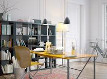 Vintage Office Desktop In Old Apartment - Retro Style Schreibti