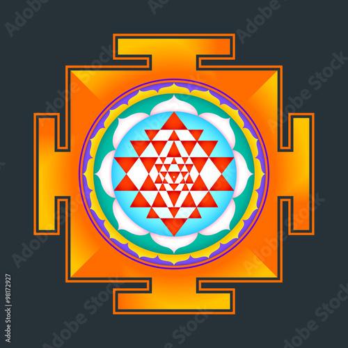 colored Sri yantra illustration. Fototapet
