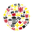 germany country theme symbols color icons in circle eps10