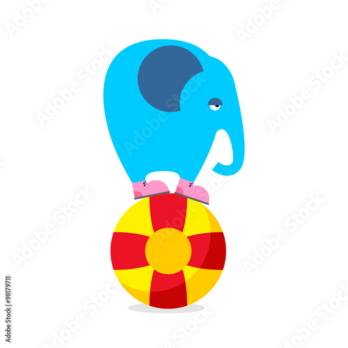 Blue elephant on ball. Performing Circus animal. Sad elephant am Poster