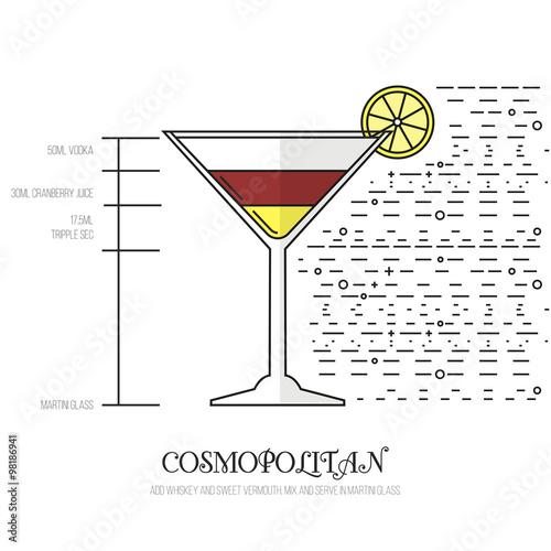 Fotografie, Obraz  Cosmopolitan - Thin Flat Line Style Coctail Recipe