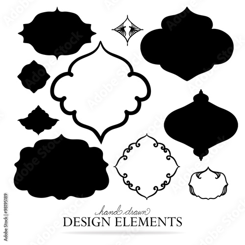 Vector Design Elements In Fancy Decorative Shaped Frames Blank Collection Of Label Shapes Or