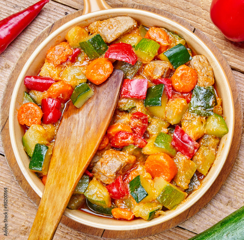 Meat and vegetables in a pan