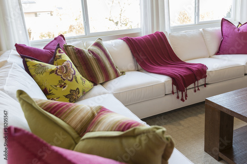 Fotografie, Obraz  Abstract of Inviting Colorful Couch Sitting Area