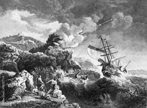 Photo An engraved illustration image of the prophet Jonah being thrown overboard befor