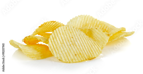 Fotografie, Obraz  potato chips on white background
