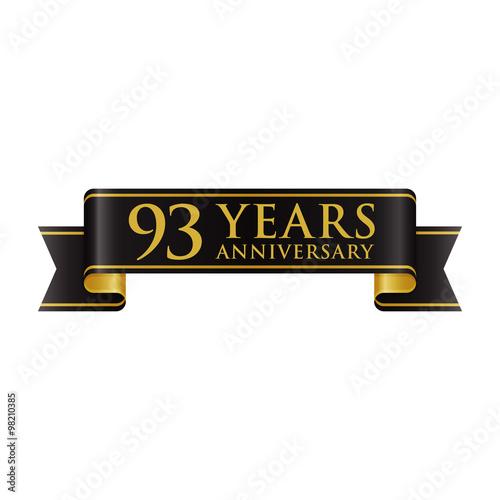 Fotografie, Obraz  Simple Black Gold Ribbon Anniversary logo 93