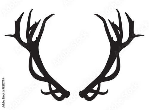 Fotografering black silhouette of deer antlers